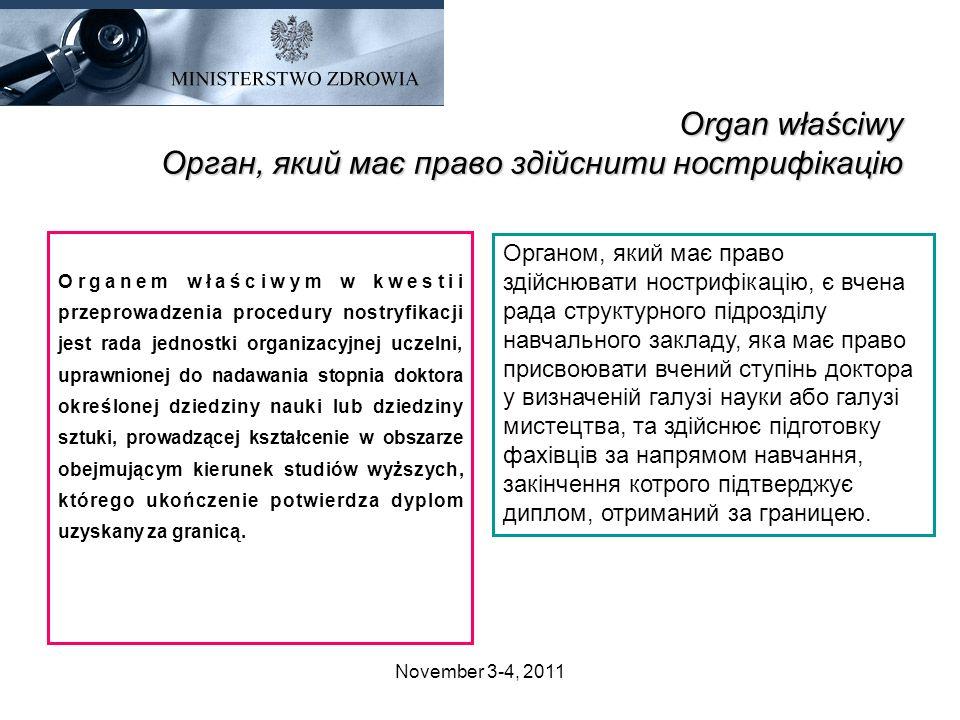 Organ właściwy Орган, який має право здійснити нострифікацію