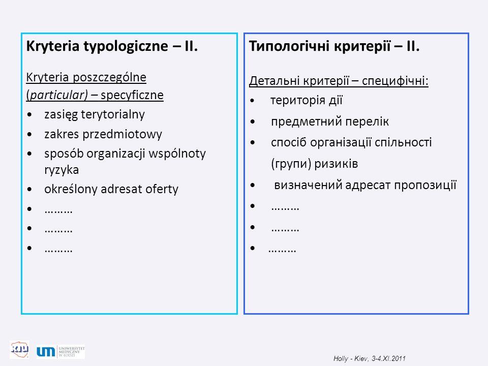 Kryteria typologiczne – II. Типологічні критерії – II.