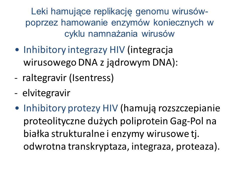 Inhibitory integrazy HIV (integracja wirusowego DNA z jądrowym DNA):