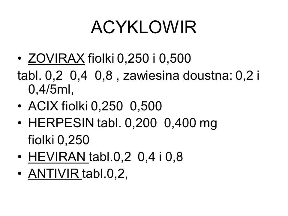 ACYKLOWIR ZOVIRAX fiolki 0,250 i 0,500