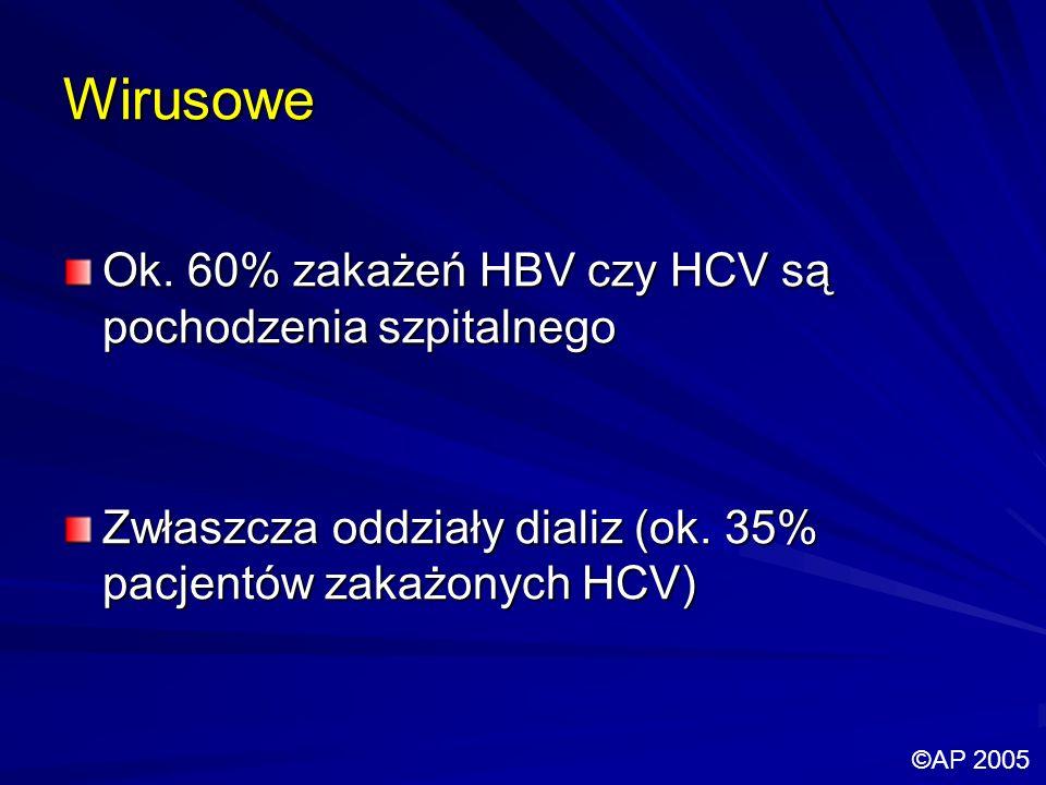 Wirusowe Ok. 60% zakażeń HBV czy HCV są pochodzenia szpitalnego