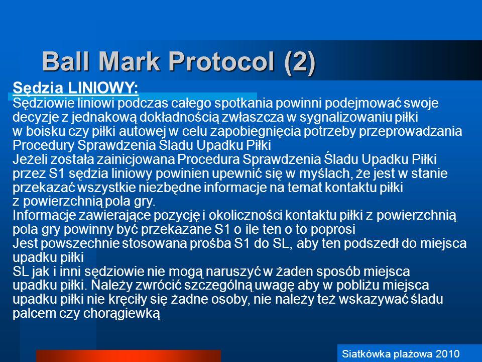 Ball Mark Protocol (2) Sędzia LINIOWY: