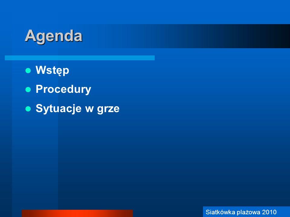 Agenda Wstęp Procedury Sytuacje w grze Siatkówka plażowa 2010
