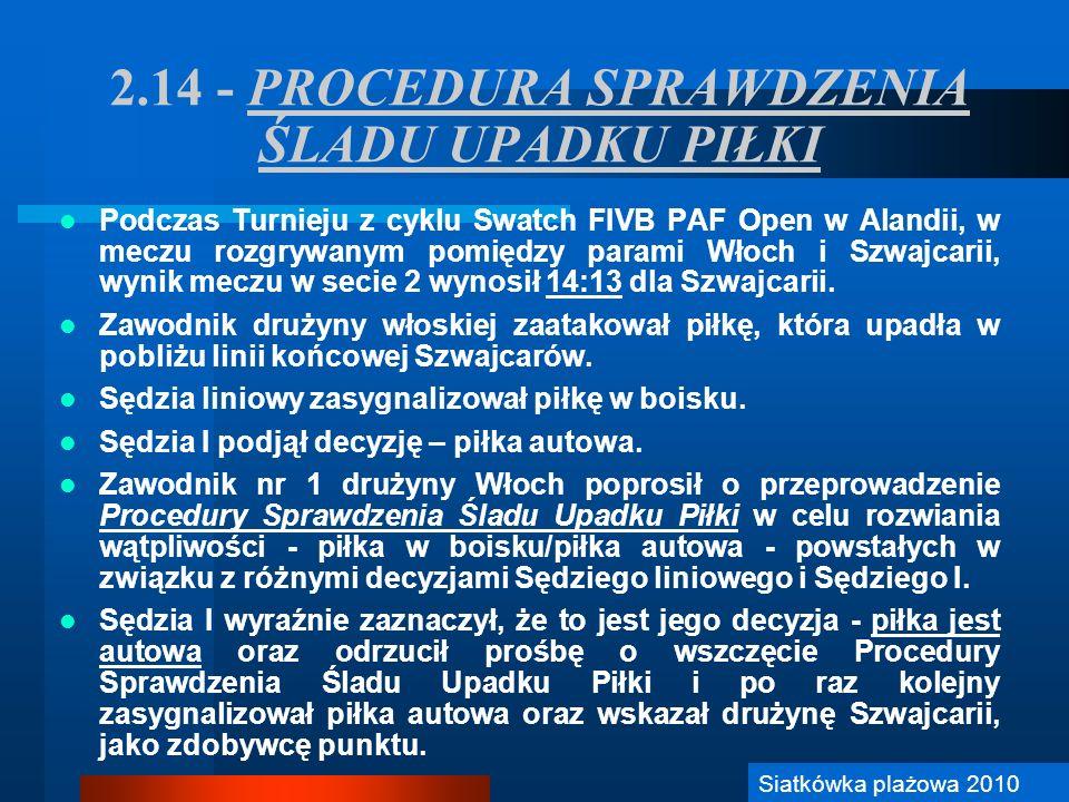 2.14 - PROCEDURA SPRAWDZENIA ŚLADU UPADKU PIŁKI
