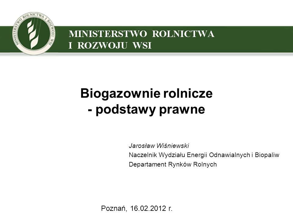 Biogazownie rolnicze - podstawy prawne