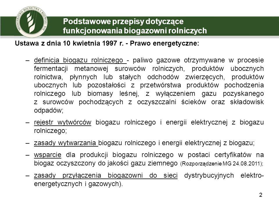 Podstawowe przepisy dotyczące funkcjonowania biogazowni rolniczych