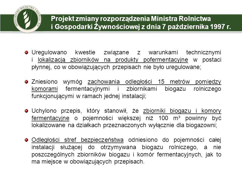 Projekt zmiany rozporządzenia Ministra Rolnictwa i Gospodarki Żywnościowej z dnia 7 października 1997 r.