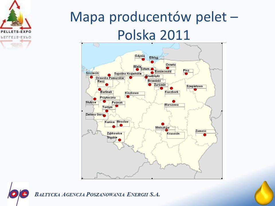 Mapa producentów pelet – Polska 2011