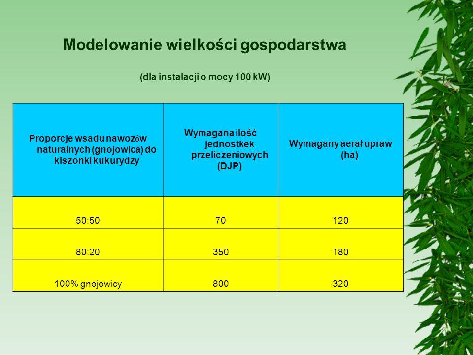 Modelowanie wielkości gospodarstwa (dla instalacji o mocy 100 kW)