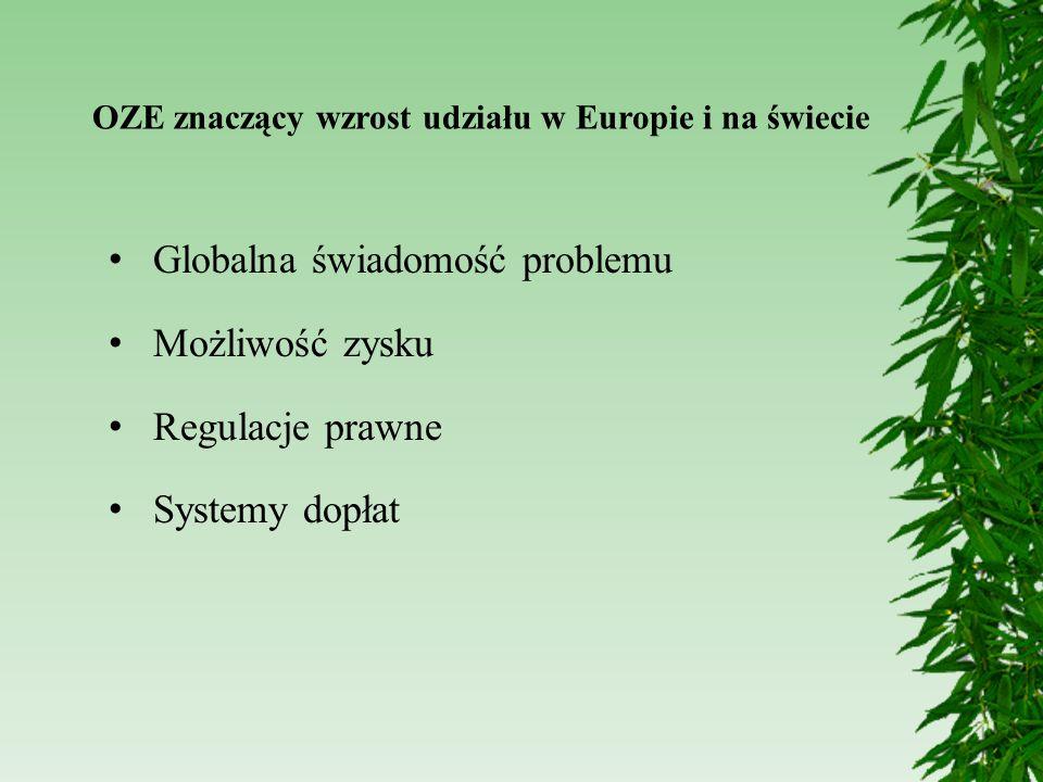 Globalna świadomość problemu Możliwość zysku Regulacje prawne