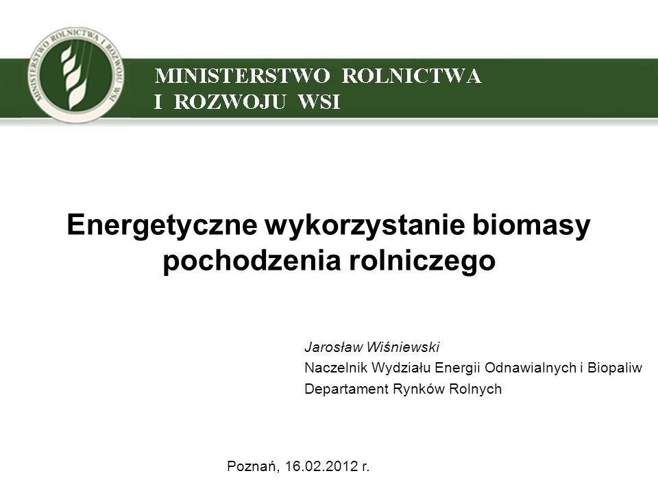 Energetyczne wykorzystanie biomasy pochodzenia rolniczego