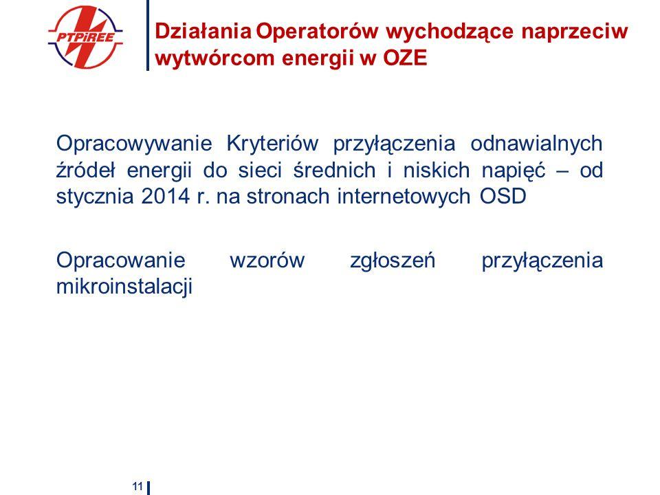 Działania Operatorów wychodzące naprzeciw wytwórcom energii w OZE