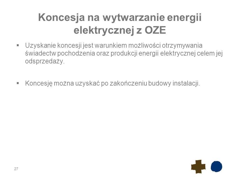 Koncesja na wytwarzanie energii elektrycznej z OZE