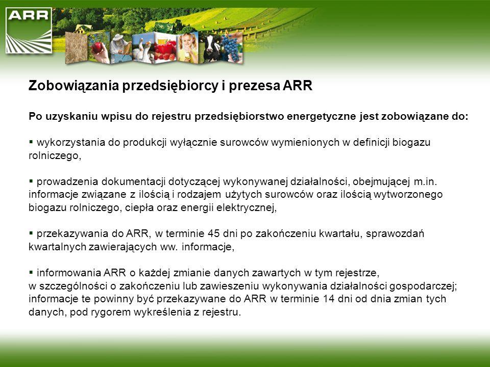 Zobowiązania przedsiębiorcy i prezesa ARR