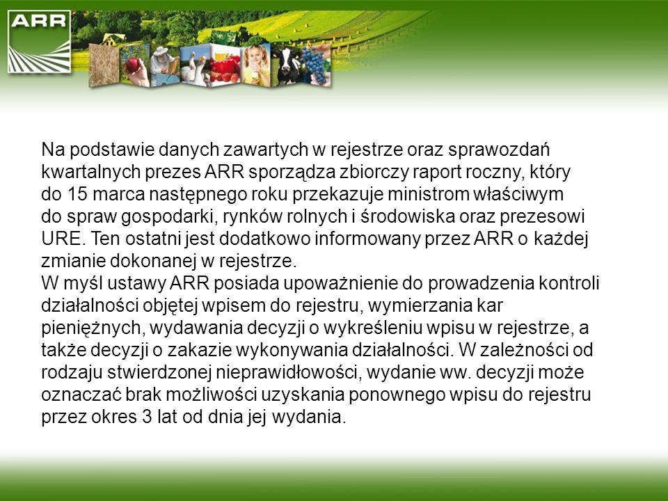 Na podstawie danych zawartych w rejestrze oraz sprawozdań kwartalnych prezes ARR sporządza zbiorczy raport roczny, który do 15 marca następnego roku przekazuje ministrom właściwym do spraw gospodarki, rynków rolnych i środowiska oraz prezesowi URE. Ten ostatni jest dodatkowo informowany przez ARR o każdej zmianie dokonanej w rejestrze.