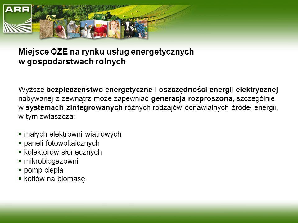 Miejsce OZE na rynku usług energetycznych w gospodarstwach rolnych