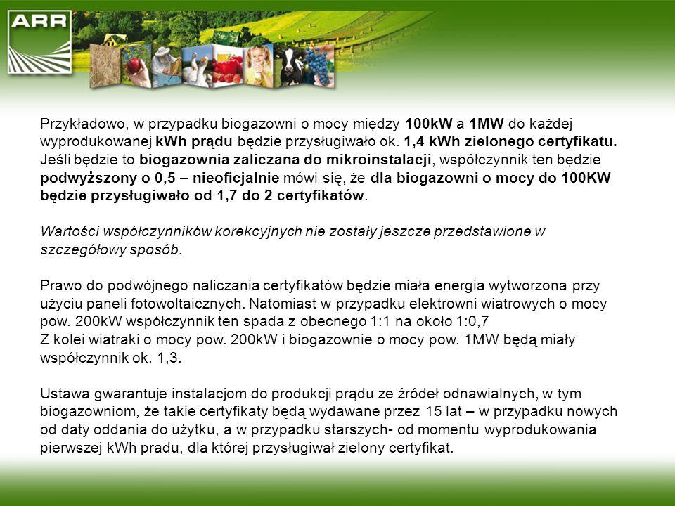 Przykładowo, w przypadku biogazowni o mocy między 100kW a 1MW do każdej wyprodukowanej kWh prądu będzie przysługiwało ok. 1,4 kWh zielonego certyfikatu.
