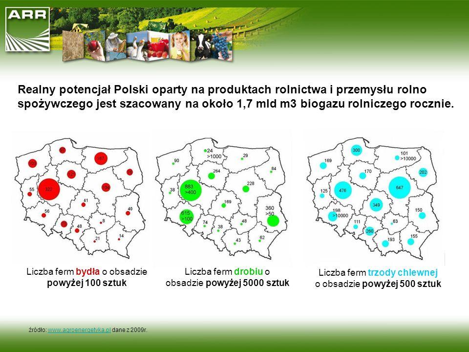 Realny potencjał Polski oparty na produktach rolnictwa i przemysłu rolno spożywczego jest szacowany na około 1,7 mld m3 biogazu rolniczego rocznie.