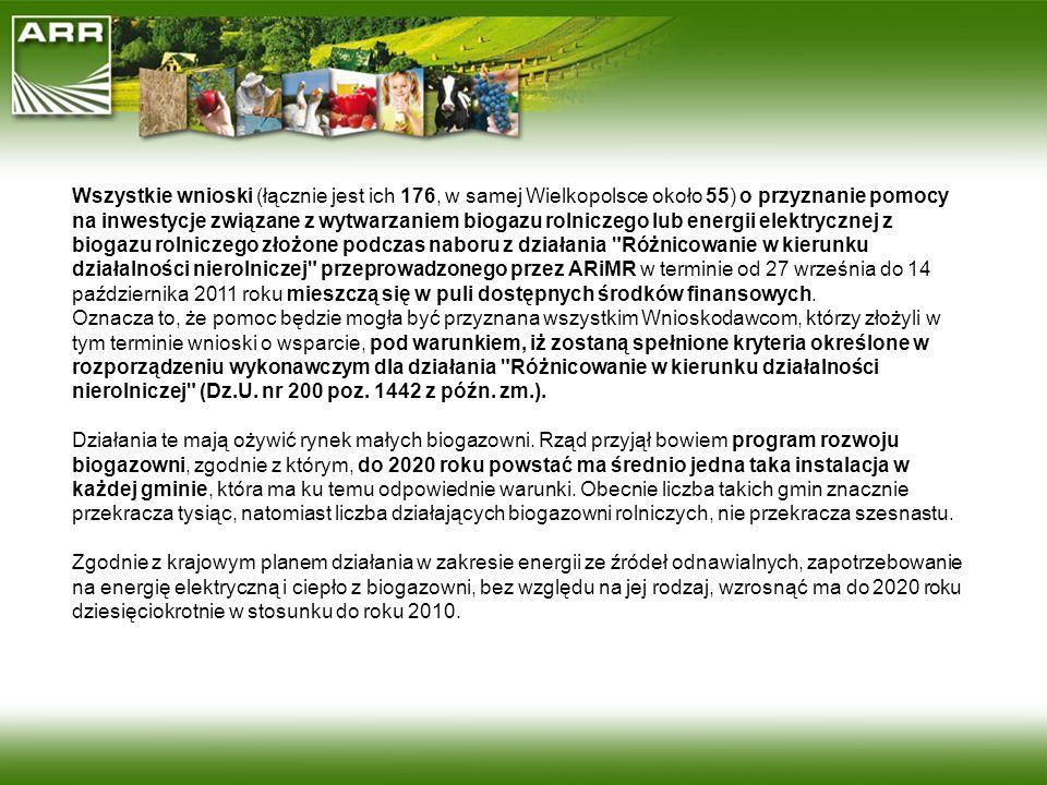 Wszystkie wnioski (łącznie jest ich 176, w samej Wielkopolsce około 55) o przyznanie pomocy na inwestycje związane z wytwarzaniem biogazu rolniczego lub energii elektrycznej z biogazu rolniczego złożone podczas naboru z działania Różnicowanie w kierunku działalności nierolniczej przeprowadzonego przez ARiMR w terminie od 27 września do 14 października 2011 roku mieszczą się w puli dostępnych środków finansowych. Oznacza to, że pomoc będzie mogła być przyznana wszystkim Wnioskodawcom, którzy złożyli w tym terminie wnioski o wsparcie, pod warunkiem, iż zostaną spełnione kryteria określone w rozporządzeniu wykonawczym dla działania Różnicowanie w kierunku działalności nierolniczej (Dz.U. nr 200 poz. 1442 z późn. zm.).