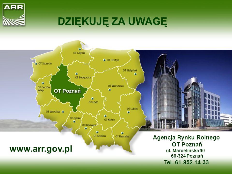 DZIĘKUJĘ ZA UWAGĘ www.arr.gov.pl Agencja Rynku Rolnego OT Poznań