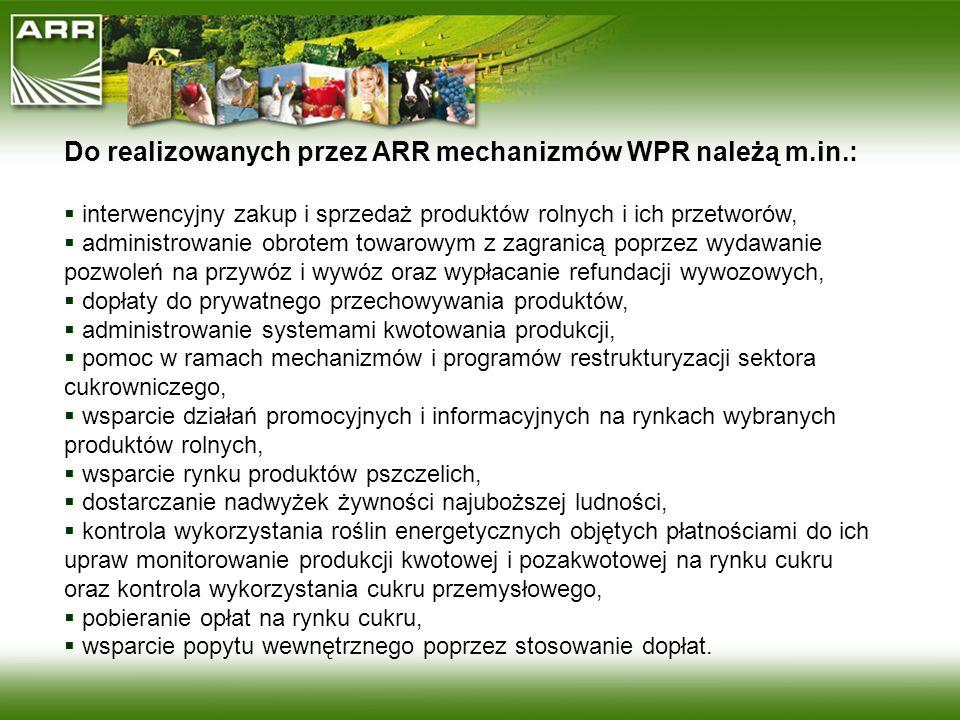 Do realizowanych przez ARR mechanizmów WPR należą m.in.: