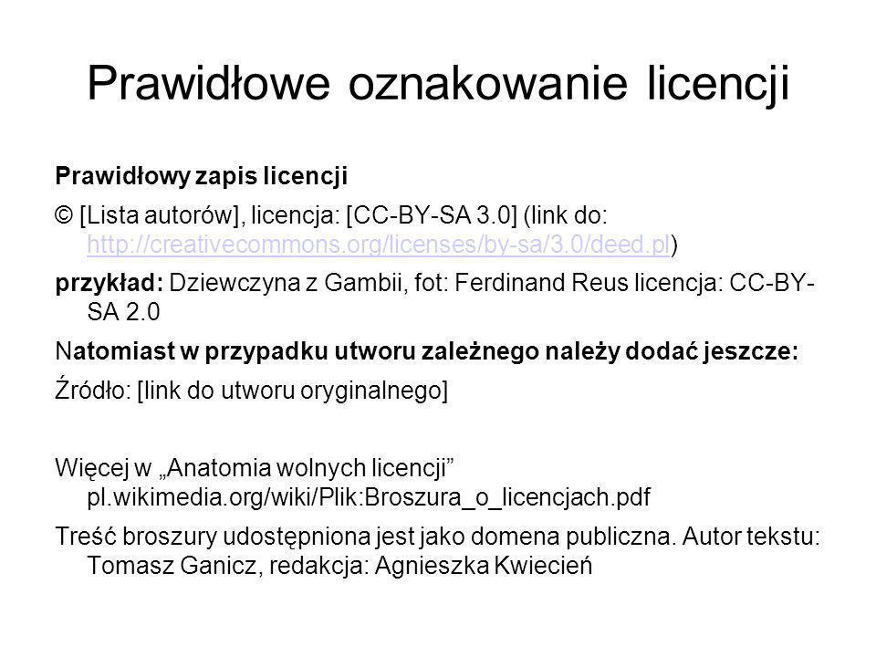 Prawidłowe oznakowanie licencji
