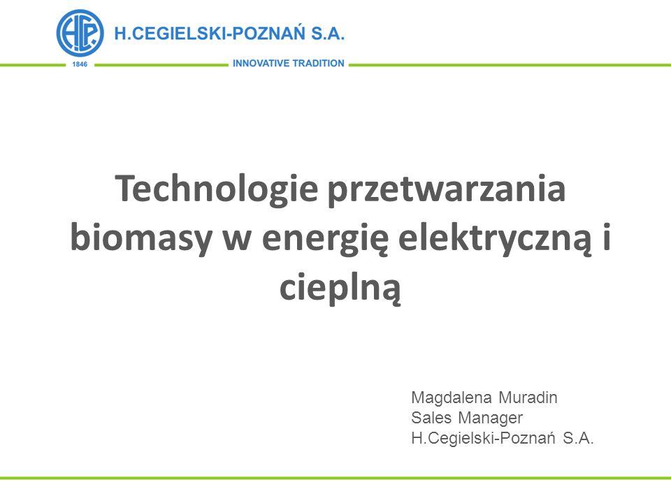Technologie przetwarzania biomasy w energię elektryczną i cieplną