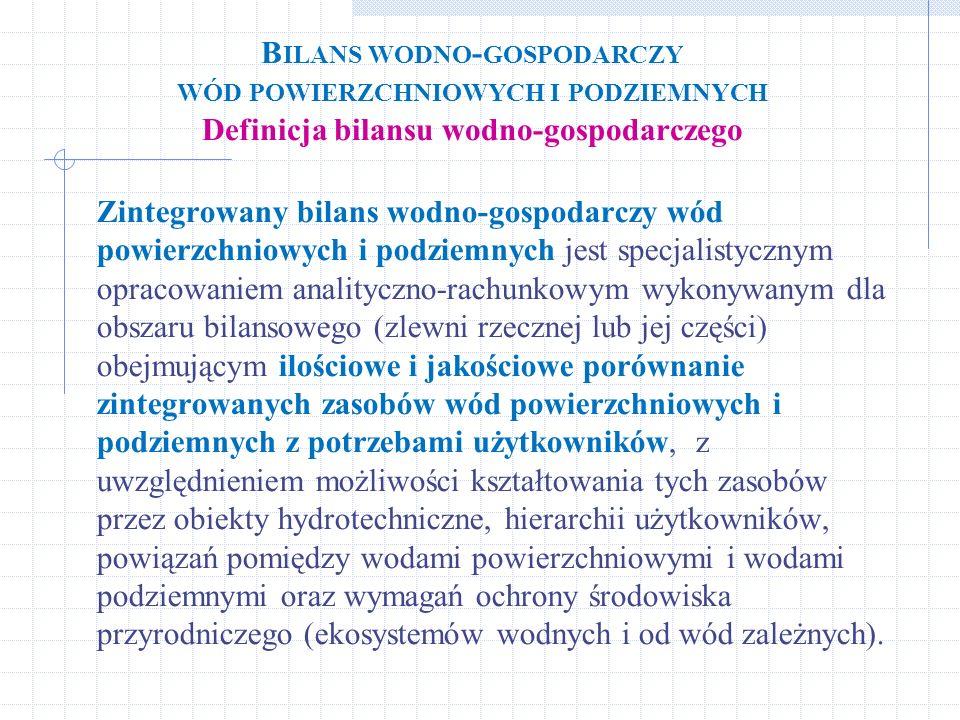 Bilans wodno-gospodarczy wód powierzchniowych i podziemnych Definicja bilansu wodno-gospodarczego