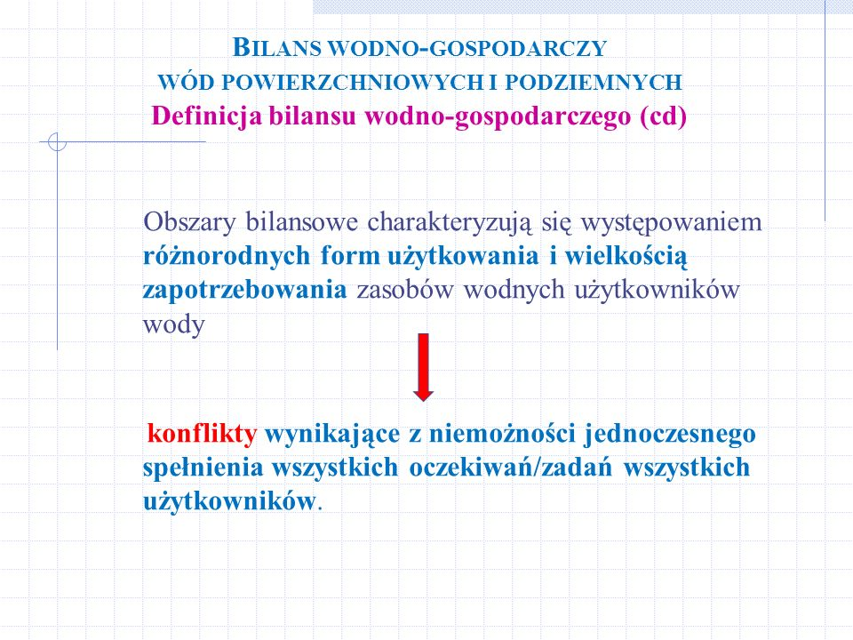 Bilans wodno-gospodarczy wód powierzchniowych i podziemnych Definicja bilansu wodno-gospodarczego (cd)