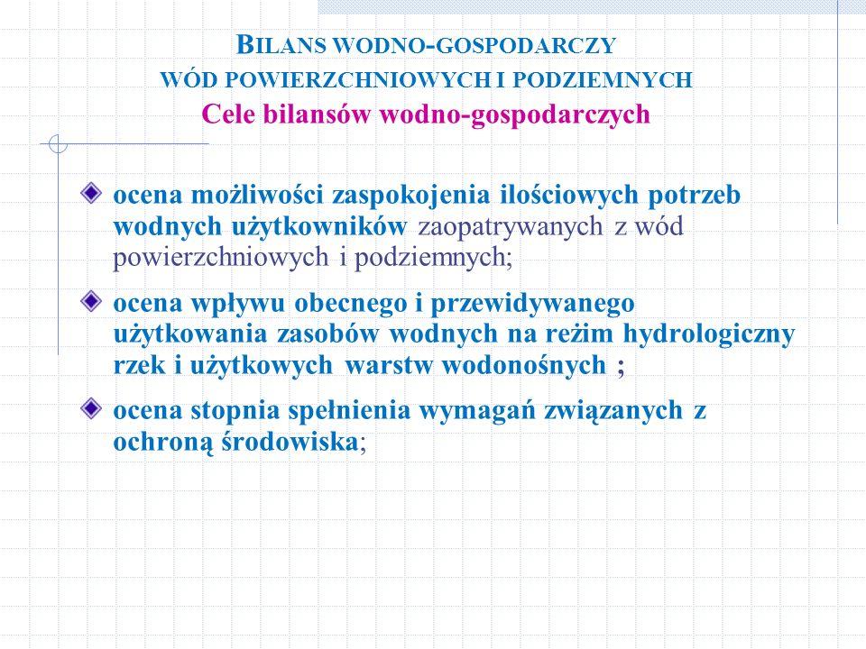 Bilans wodno-gospodarczy wód powierzchniowych i podziemnych Cele bilansów wodno-gospodarczych