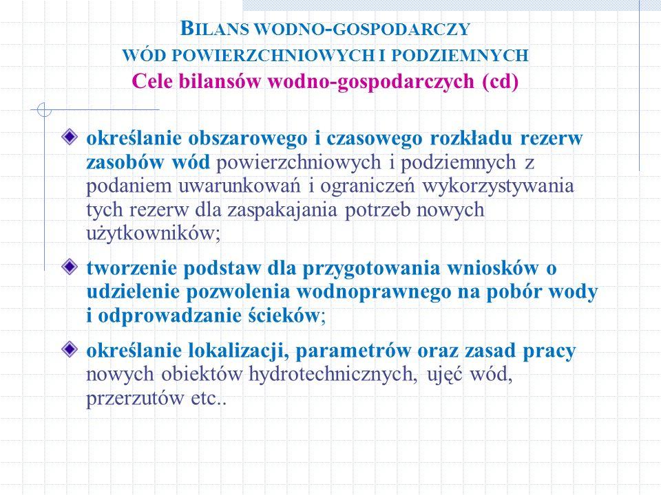 Bilans wodno-gospodarczy wód powierzchniowych i podziemnych Cele bilansów wodno-gospodarczych (cd)