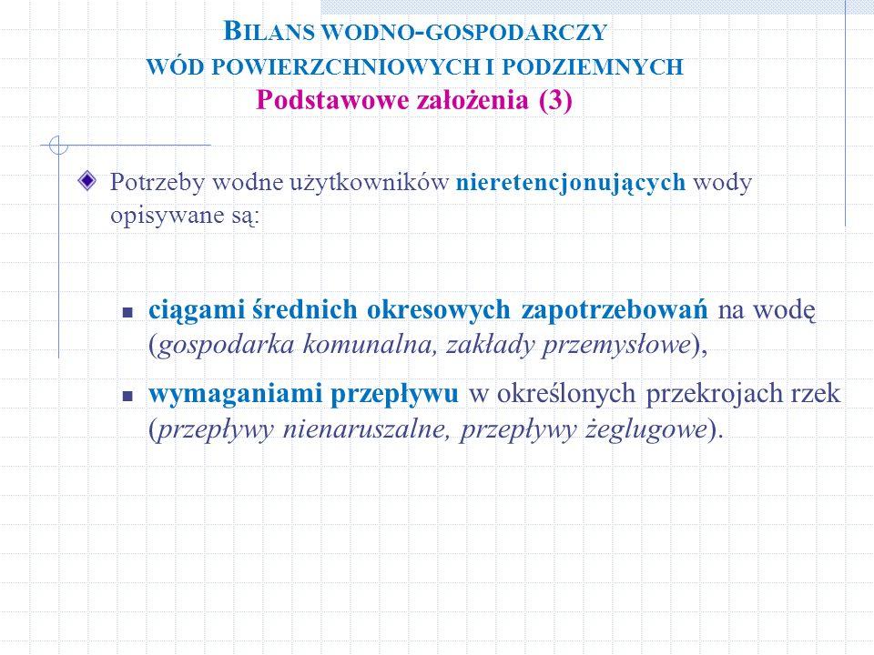 Bilans wodno-gospodarczy wód powierzchniowych i podziemnych Podstawowe założenia (3)
