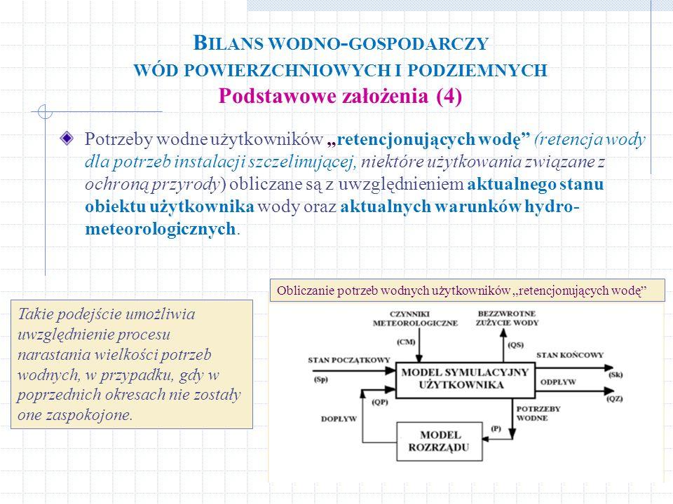 Bilans wodno-gospodarczy wód powierzchniowych i podziemnych Podstawowe założenia (4)