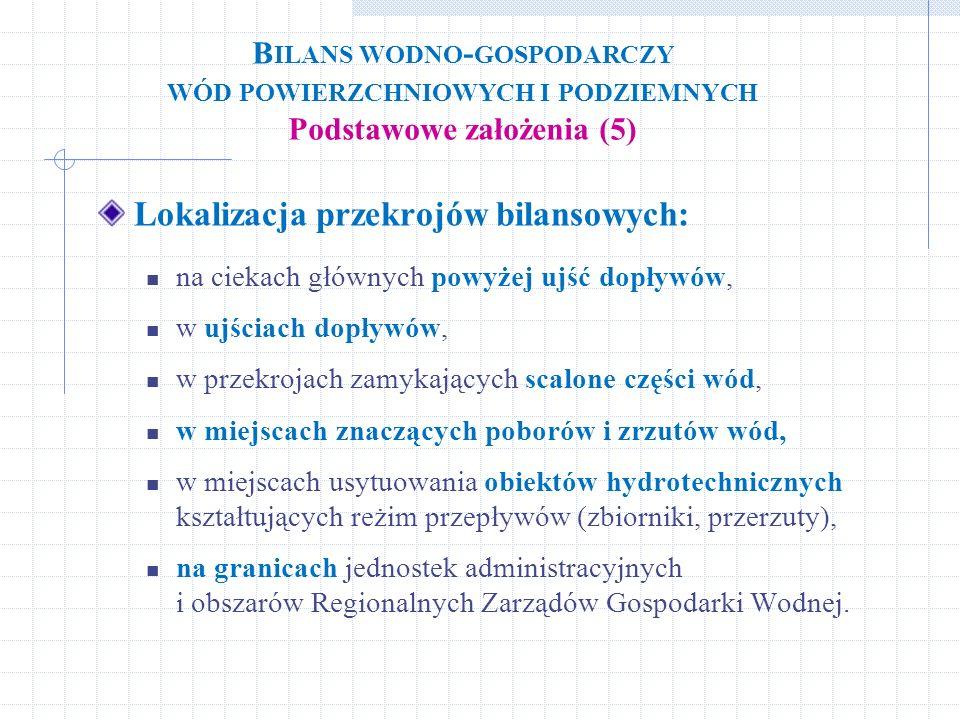 Lokalizacja przekrojów bilansowych: