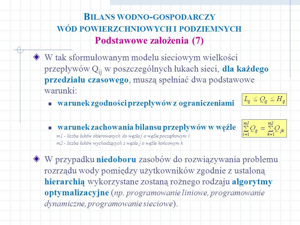 Bilans wodno-gospodarczy wód powierzchniowych i podziemnych Podstawowe założenia (7)