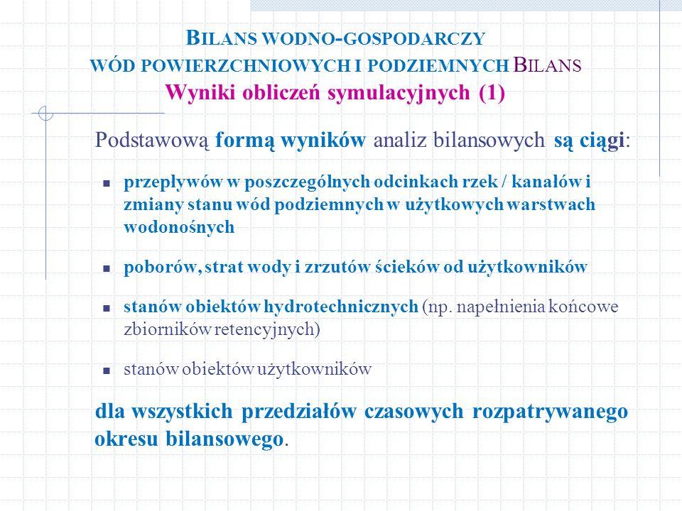 Bilans wodno-gospodarczy wód powierzchniowych i podziemnych Bilans Wyniki obliczeń symulacyjnych (1)