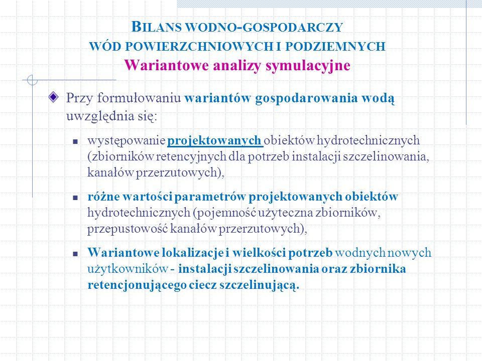 Bilans wodno-gospodarczy wód powierzchniowych i podziemnych Wariantowe analizy symulacyjne
