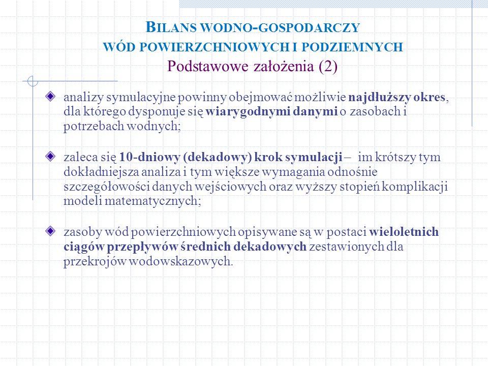 Bilans wodno-gospodarczy wód powierzchniowych i podziemnych Podstawowe założenia (2)