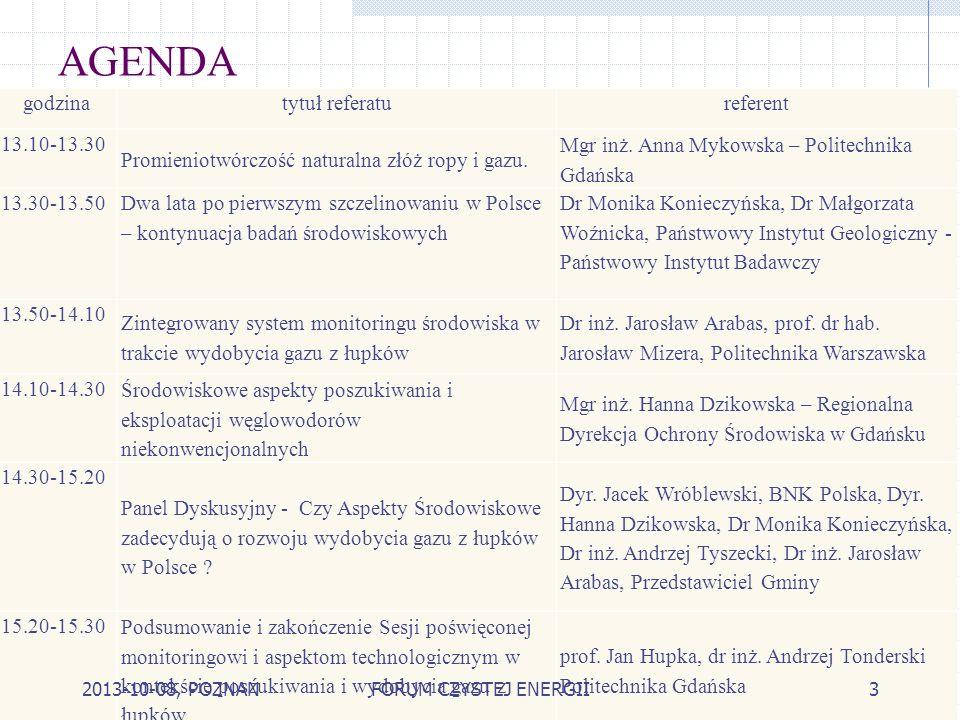 AGENDA godzina tytuł referatu referent 13.10-13.30
