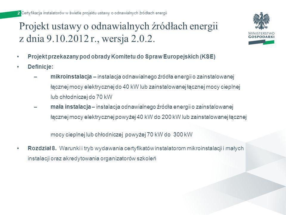 2 Certyfikacja instalatorów w świetle projektu ustawy o odnawialnych źródłach energii.