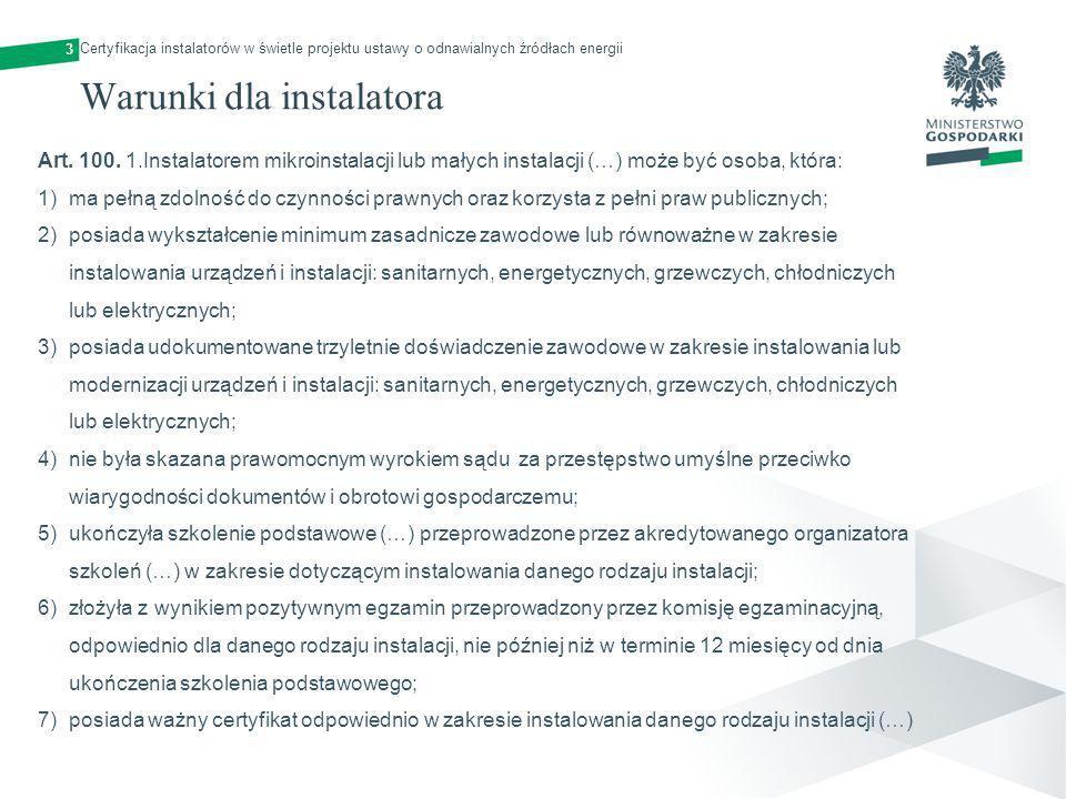 Warunki dla instalatora
