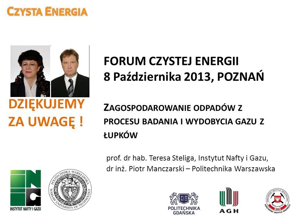 FORUM CZYSTEJ ENERGII 8 Października 2013, POZNAŃ Zagospodarowanie odpadów z procesu badania i wydobycia gazu z łupków