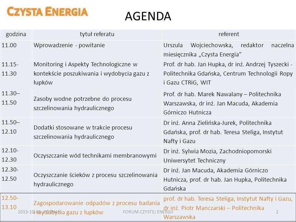 AGENDA godzina tytuł referatu referent 11.00 Wprowadzenie - powitanie