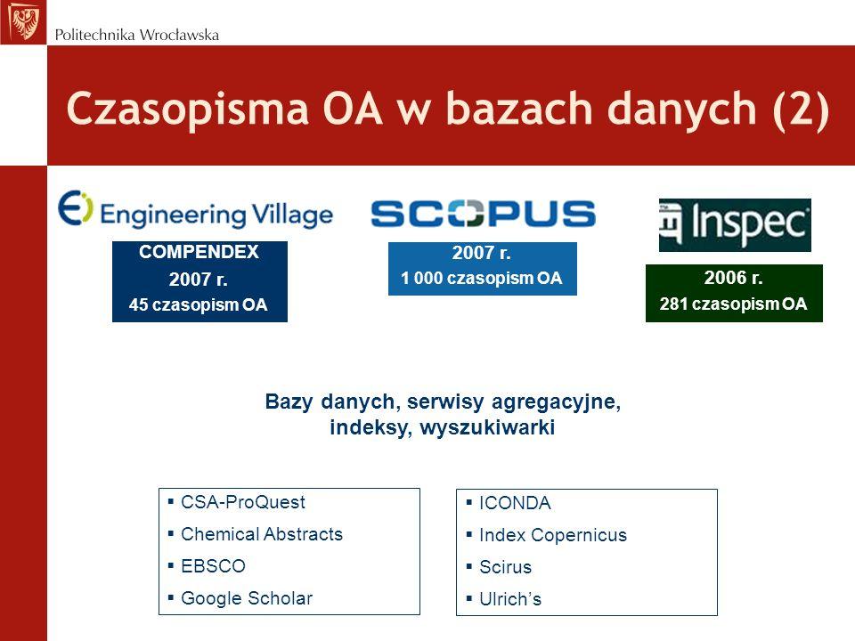 Czasopisma OA w bazach danych (2)