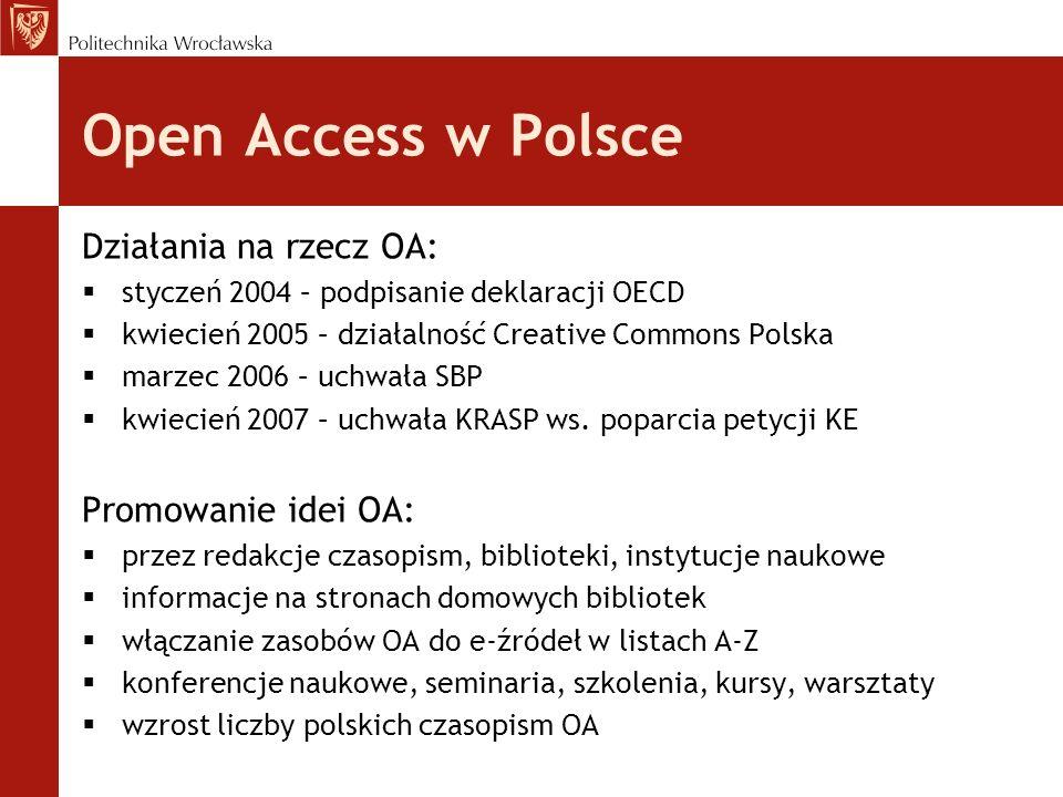 Open Access w Polsce Działania na rzecz OA: Promowanie idei OA: