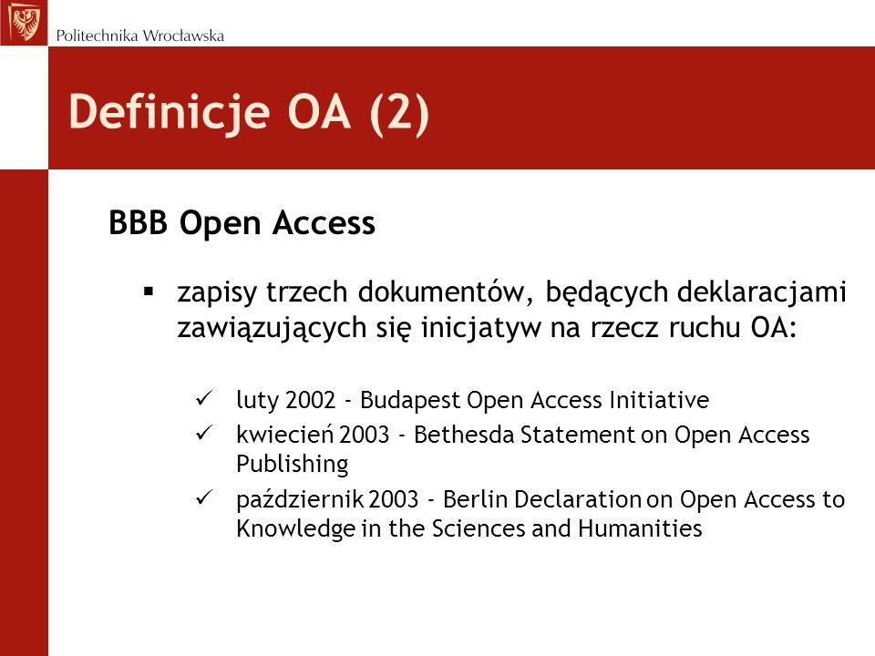 Definicje OA (2) BBB Open Access