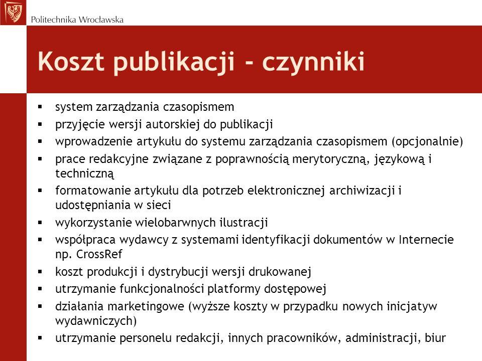 Koszt publikacji - czynniki
