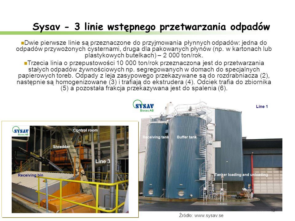 Sysav - 3 linie wstępnego przetwarzania odpadów