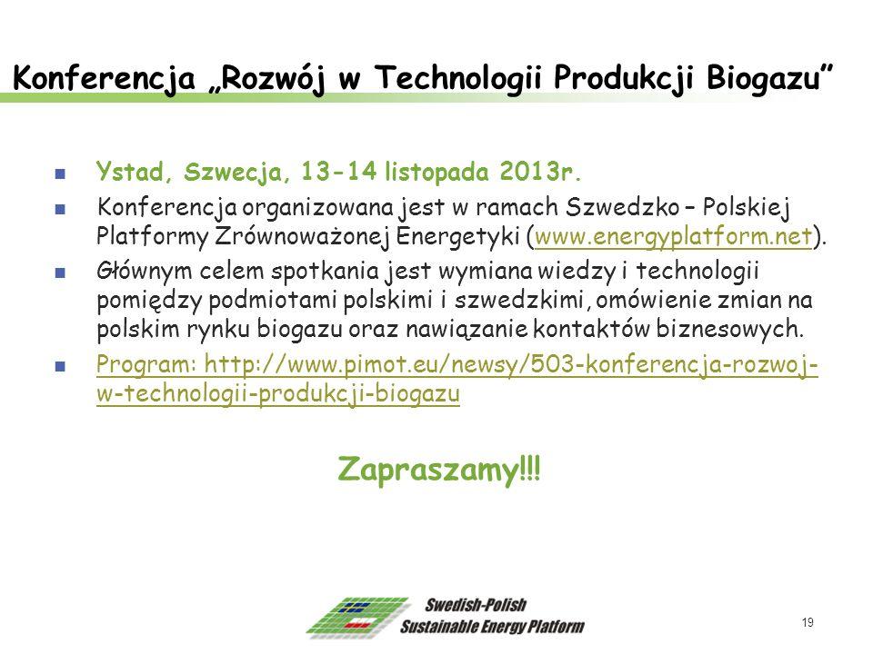 """Konferencja """"Rozwój w Technologii Produkcji Biogazu"""