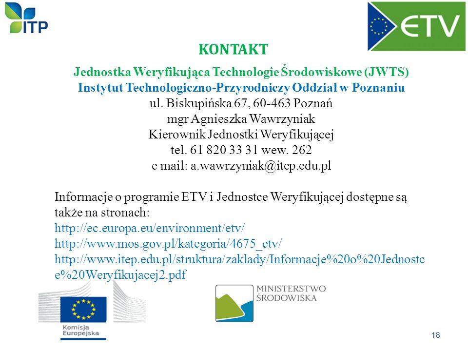 KONTAKT Jednostka Weryfikująca Technologie Środowiskowe (JWTS)